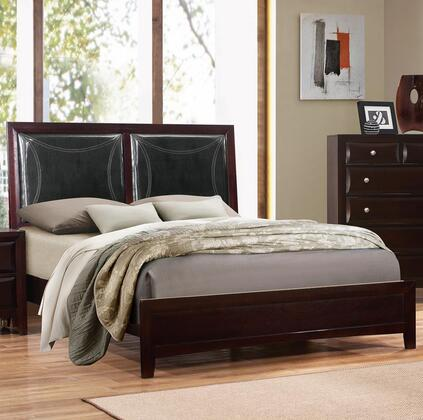 Boston Collection BS450-T Twin Size Panel Bed with Faux Leather Headboard  Stitching Detail  Solid Tropical Wood and Wood Veneer Construction in