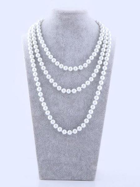 Milanoo Disfraz Halloween Collar De Perlas Blanco Gatsby Charleston Accesorios De Disfraz Vintage 1920'S Carnaval Halloween