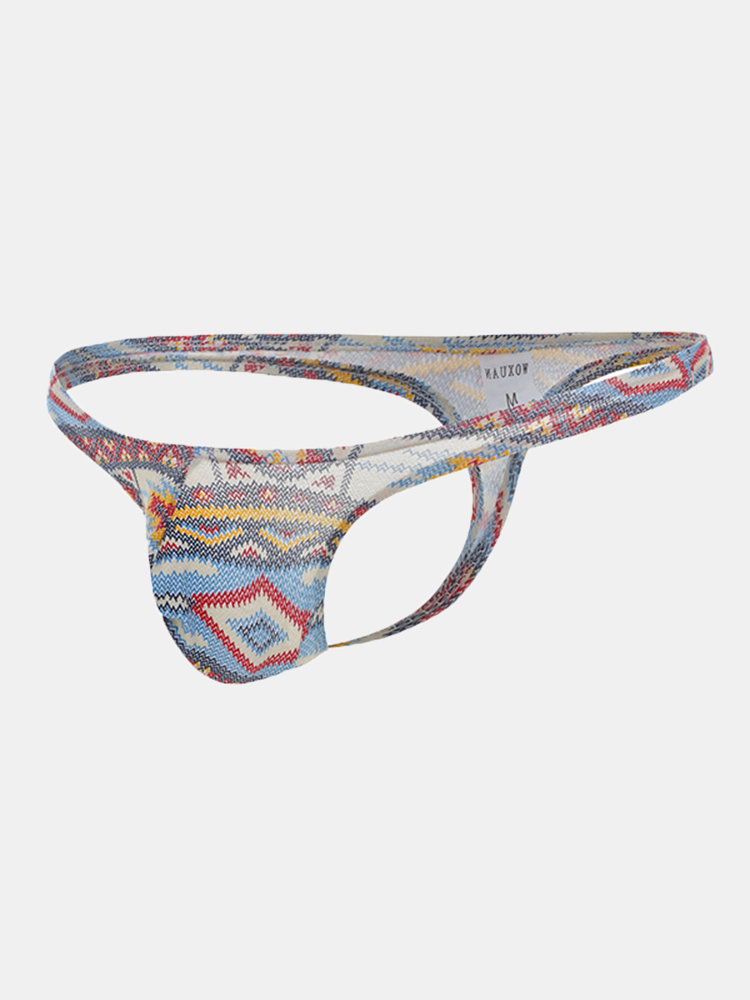 Sexy Casaul Health Printing U Convex Pouch Thongs for Men