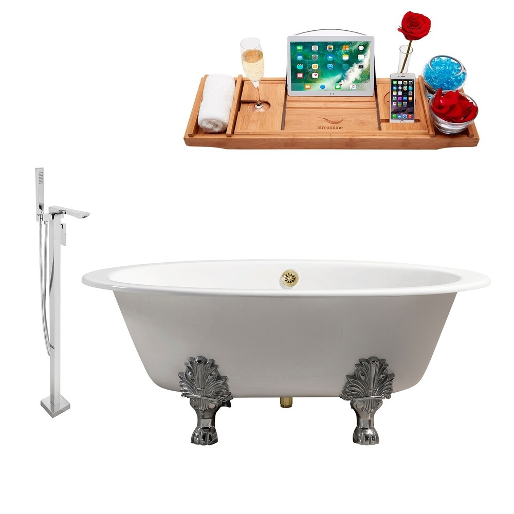 Cast Iron Tub, Faucet and Tray Set 65