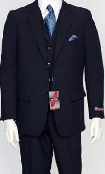 Mens Navy 3Piece Regular Fit Poly Poplin Notch Lapel Single Dress Suit