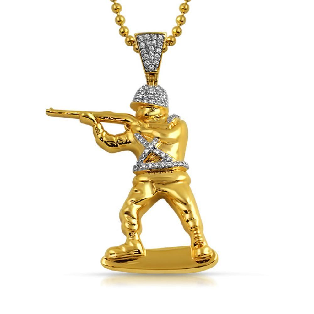 Toy Army Soldier 3D Gold Bling Bling Pendant CZ