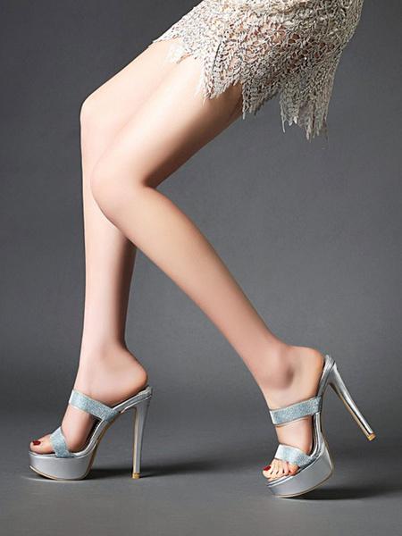 Milanoo Women\'s Sandals Stiletto Heel Sexy Slip-On Sandals Round Toe Light Gold Women\'s Sandals