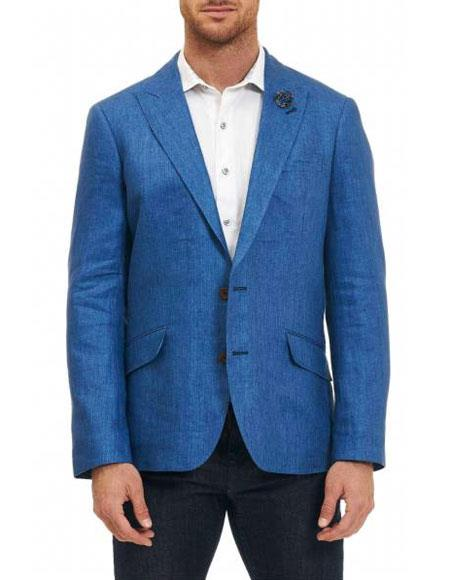 Men's Sportcoat 2 Buttons Single Breasted 100% Linen Blue