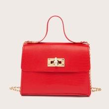Textured Chain Satchel Bag