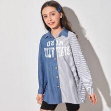 Gespleisste Bluse mit , Buchstaben Grafik und Streifen