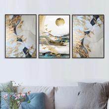3 Stuecke Leinwandbild mit abstraktem Muster ohne Rahmen