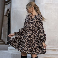 Leopard Print Tie Neck Ruffle Hem Smock Dress