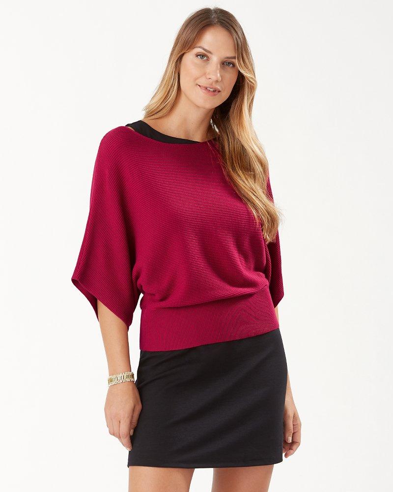 Bonita Kimono-Sleeve Boatneck Sweater