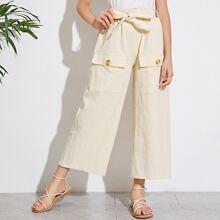 Pantalones anchos de niñas con bolsillo con solapa con cinturon