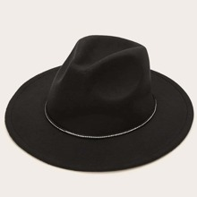 Rhinestone Decor Floppy Hat