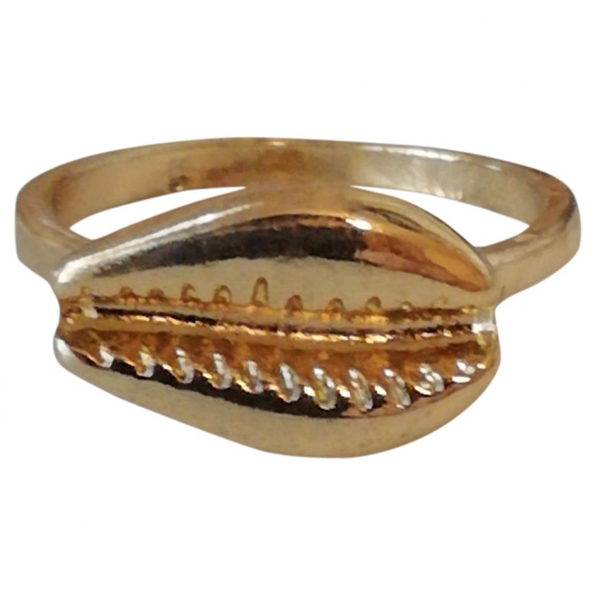Non Signe / Unsigned Motifs Coquillages Ring in  Gold Metall
