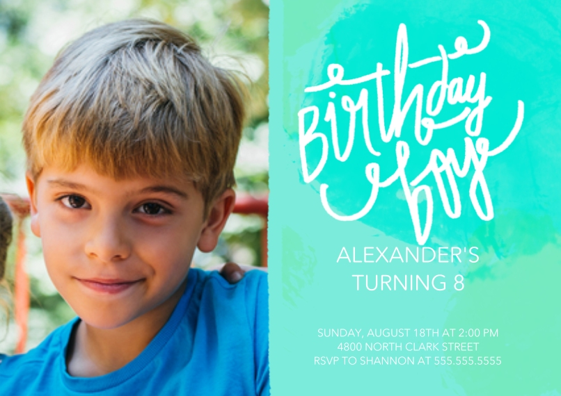 Kids Birthday Party Invites 5x7 Cards, Standard Cardstock 85lb, Card & Stationery -Script Paint Birthday