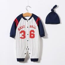 Baseball Jumpsuit mit Nummer & Streifen Muster