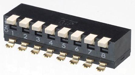 APEM 8 Way Surface Mount DIP Switch 8PST, Piano, Raised Actuator (5)