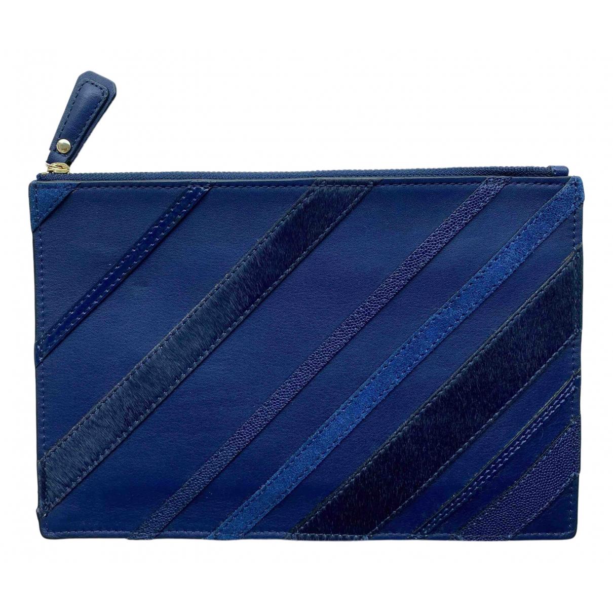 Diane Von Furstenberg \N Clutch in  Blau Leder