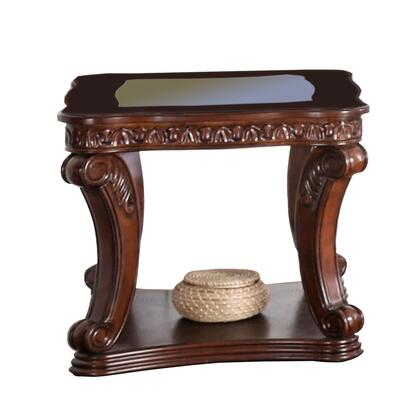 BM205360 Traditional End Table with Cabriole Legs and Wooden Carving