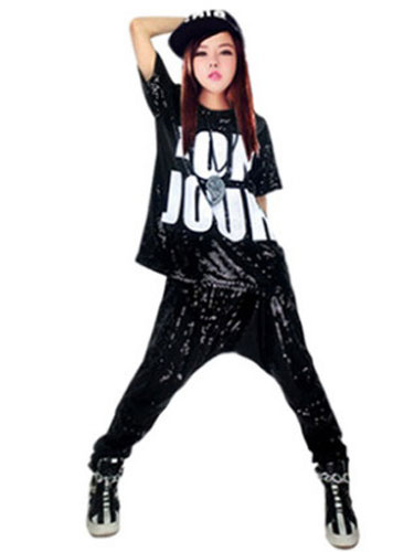Milanoo Hip Hop Clothing Dance Costumes Sequined Printed T Shirt With Harem Pants