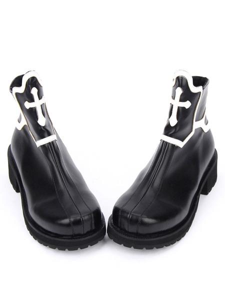 Milanoo Gothic Lolita Shoes Black Platform Chunky Heel Cross Lolita Boots