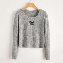 Butterfly Embroidery Rib-knit Crop Tee