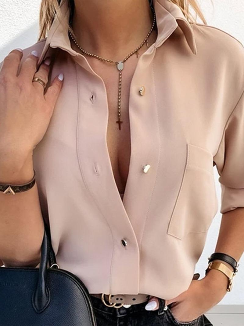 Ericdress Pocket Regular Plain Standard Long Sleeve Blouse