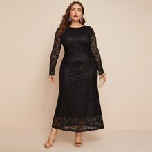 Plus Guipure Lace Overlay Dress
