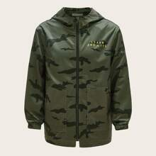 Boys Patch Pocket Letter Graphic Camo Hooded Coat