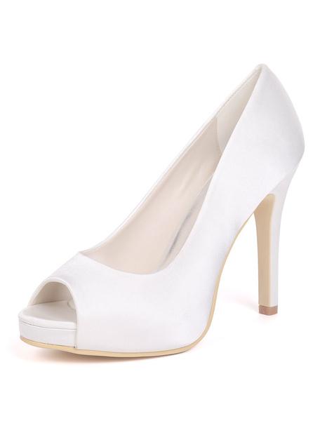 Milanoo Satin Wedding Shoes Purple Peep Toe Wedding Guest Shoes Women High Heels