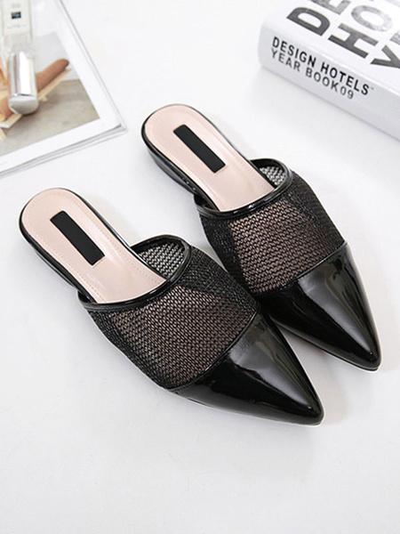 Milanoo Chinelas planas negras Zapatos de diapositivas con corte de punta en punta de cuero negro de PU