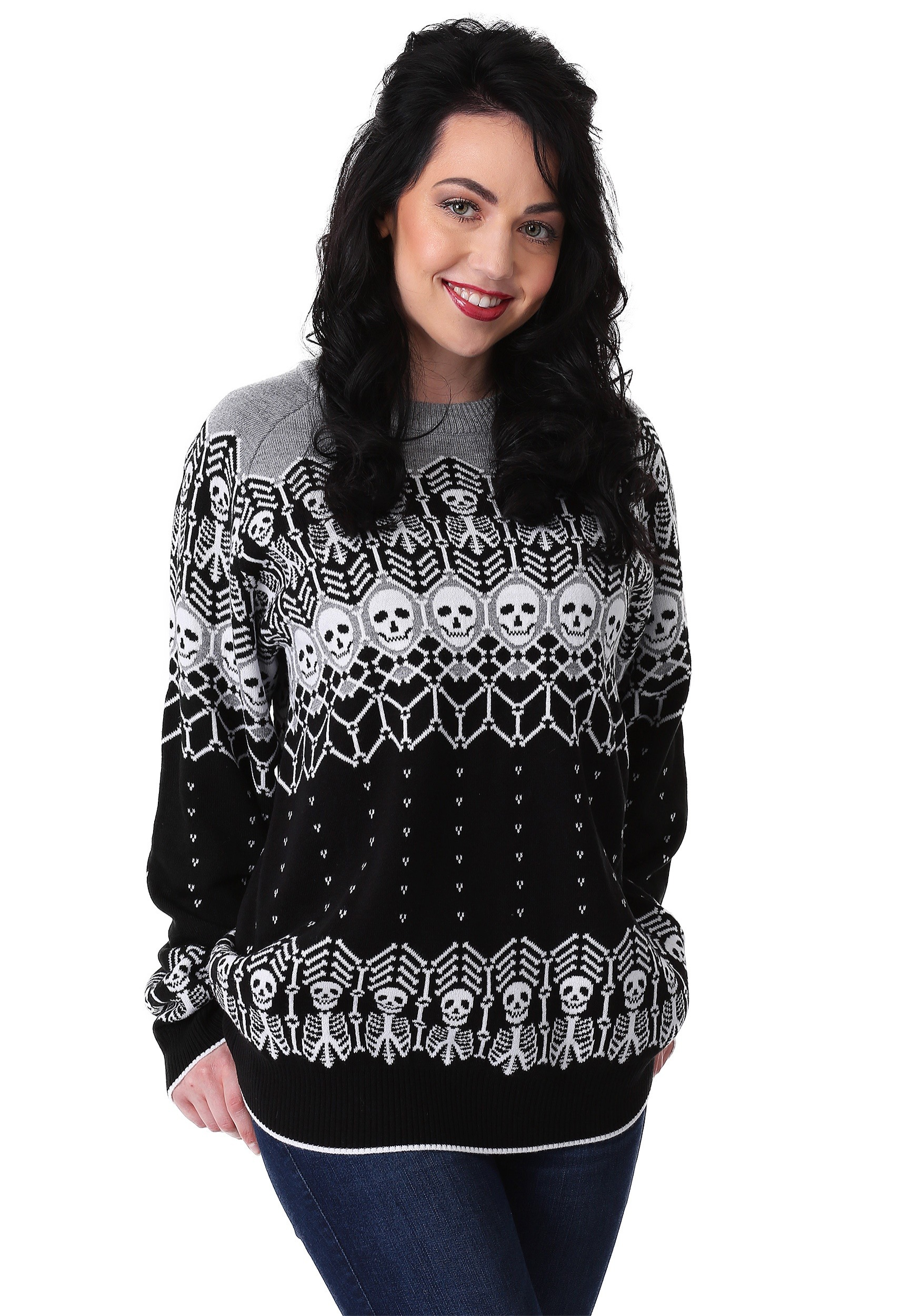 Adult Black and White Skeleton Halloween Sweater