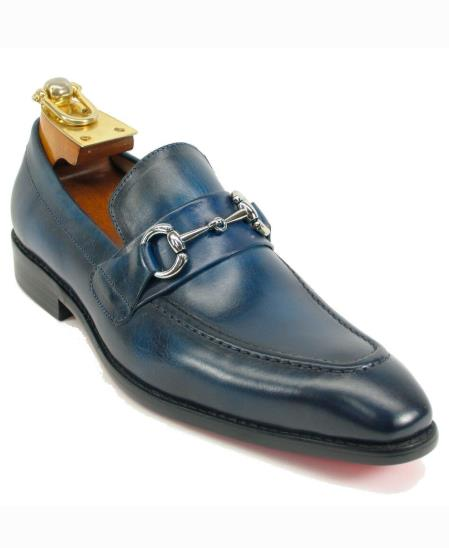 Mens Leather Fashionable Navy Ombre Slip On Shoes