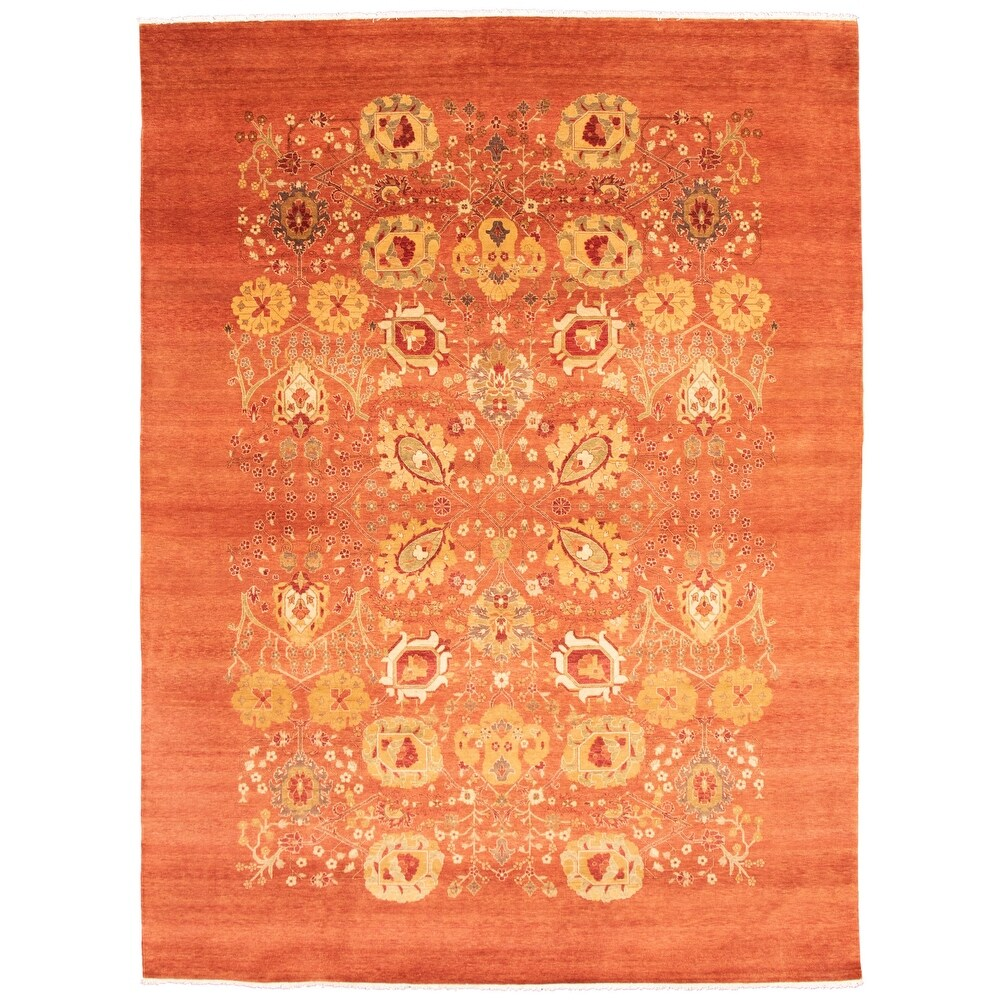 ECARPETGALLERY  Hand-knotted Pak Finest Copper Wool Rug - 9'11 x 13'1 (9'11 x 13'1 - Dark Copper)