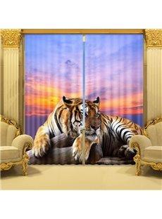 3D Ferocious Crouching Tiger Printed Animal Style Decoration Custom Living Room Curtain