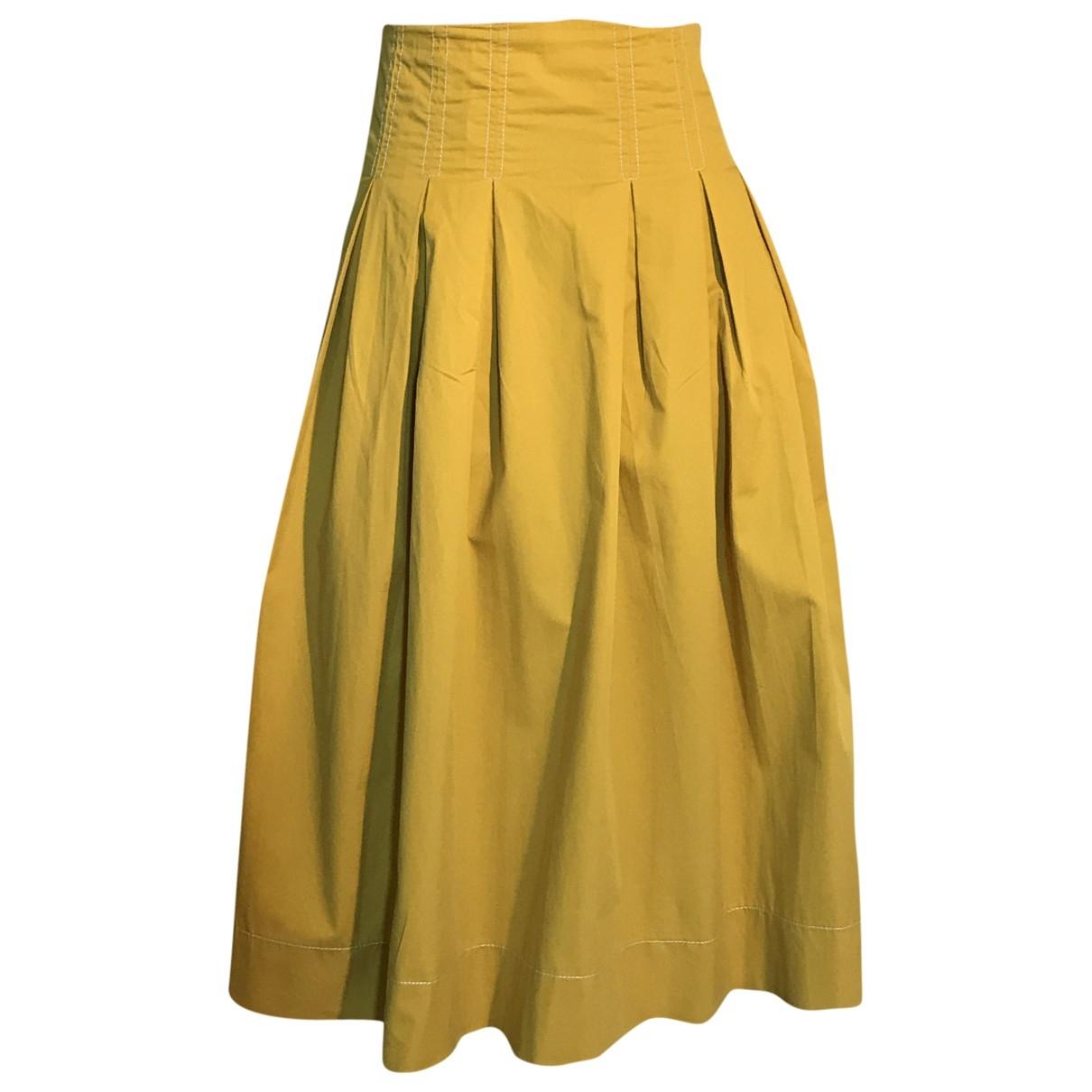 Zara - Jupe   pour femme en coton - jaune