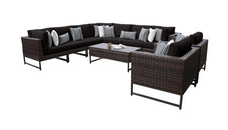 Barcelona BARCELONA-10a-BRN-BLACK 10-Piece Patio Set 10a with 3 Corner Chairs  2 Club Chairs  4 Armless Chairs and 1 Coffee Table - Beige and Black