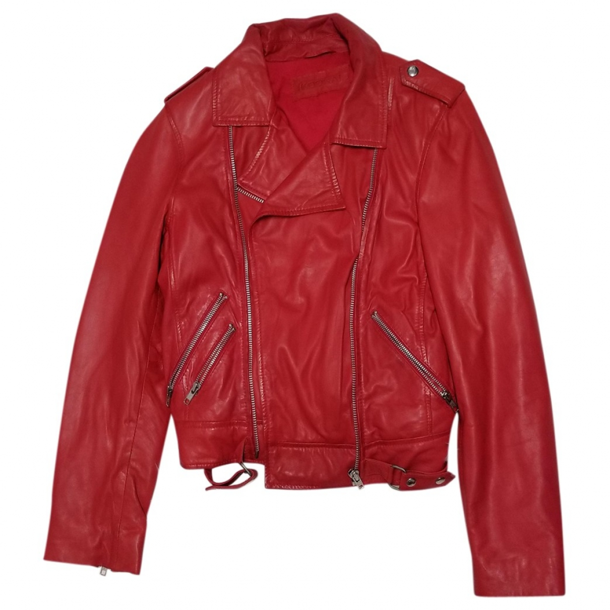 Non Signe / Unsigned \N Jacke in  Rot Leder