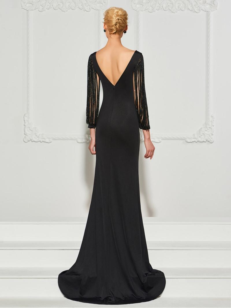 Ericdress Beaded Tassel Long Sleeves Mermaid Evening Dress