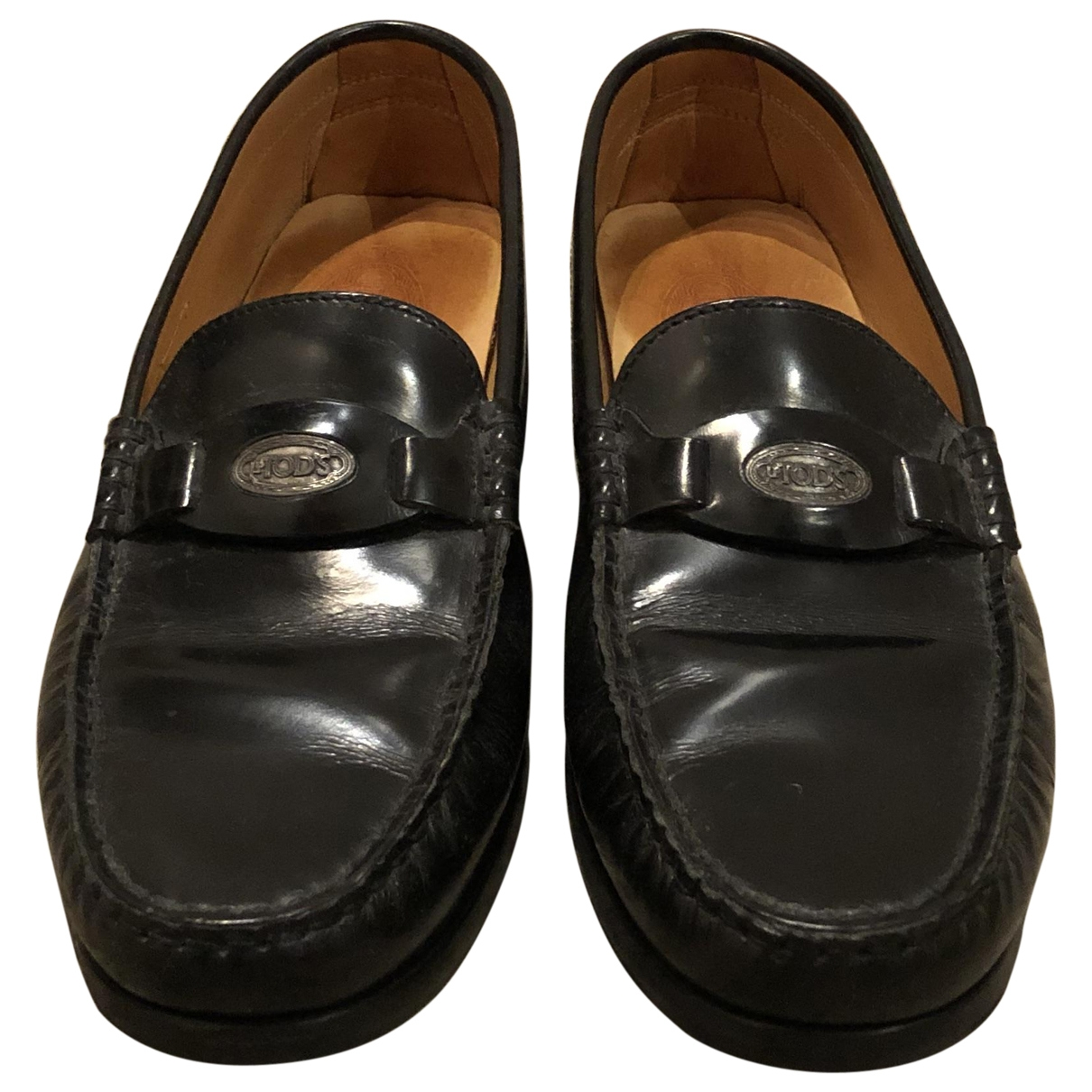 Tod's \N Black Leather Flats for Women 37 EU