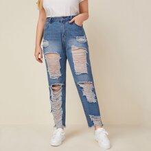 Jeans mit schraegen Taschen, umgesaeumtem Saum und Riss