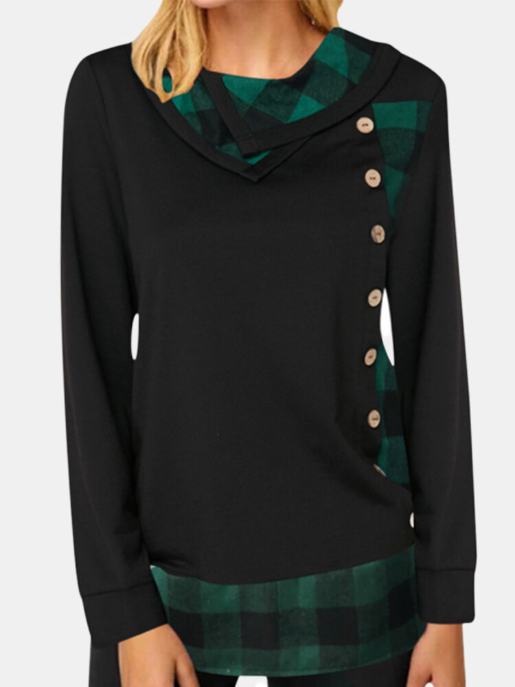 Plaid Patchwork Pile Collar Blouse for Women