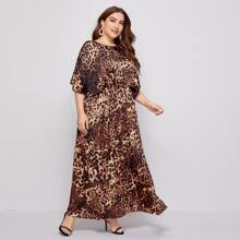 Plus Leopard Print Batwing Sleeve Babydoll Dress