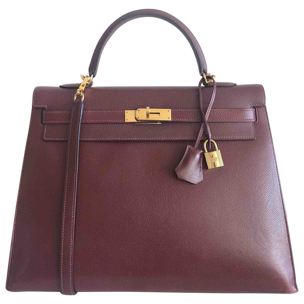 Hermes Kelly 35 Handtasche in  Bordeauxrot Leder