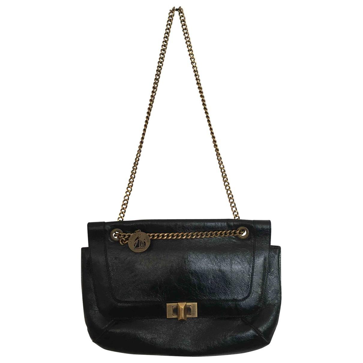 Lanvin Happy Handtasche in  Schwarz Lackleder