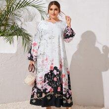 Vestido con estampado floral de cuello V - grande