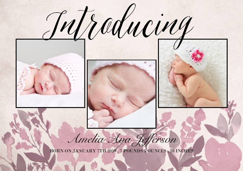 Baby Announcements Set of 20, Premium 5x7 Foil Card, Card & Stationery -Introducing Floral Pink