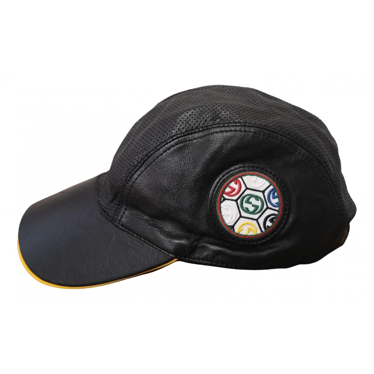 Gucci - Chapeau   pour femme en cuir - noir
