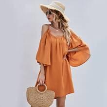 Schulterfreies Tunika Kleid
