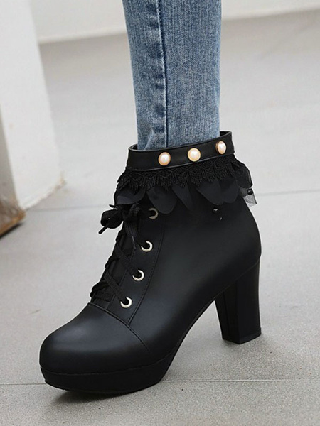 Milanoo Lolita Ankle Boots PU Leather Round Toe Lolita Booties Shoes