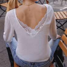 Contrast Lace Backless Solid Tee