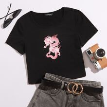 Camiseta corta con estampado de dragon chino